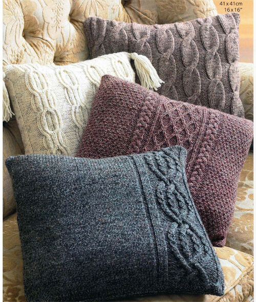 Knitting Pattern Aran Wool : Aran cushions Knitting pattern-Aran wool- choice of 4 ...