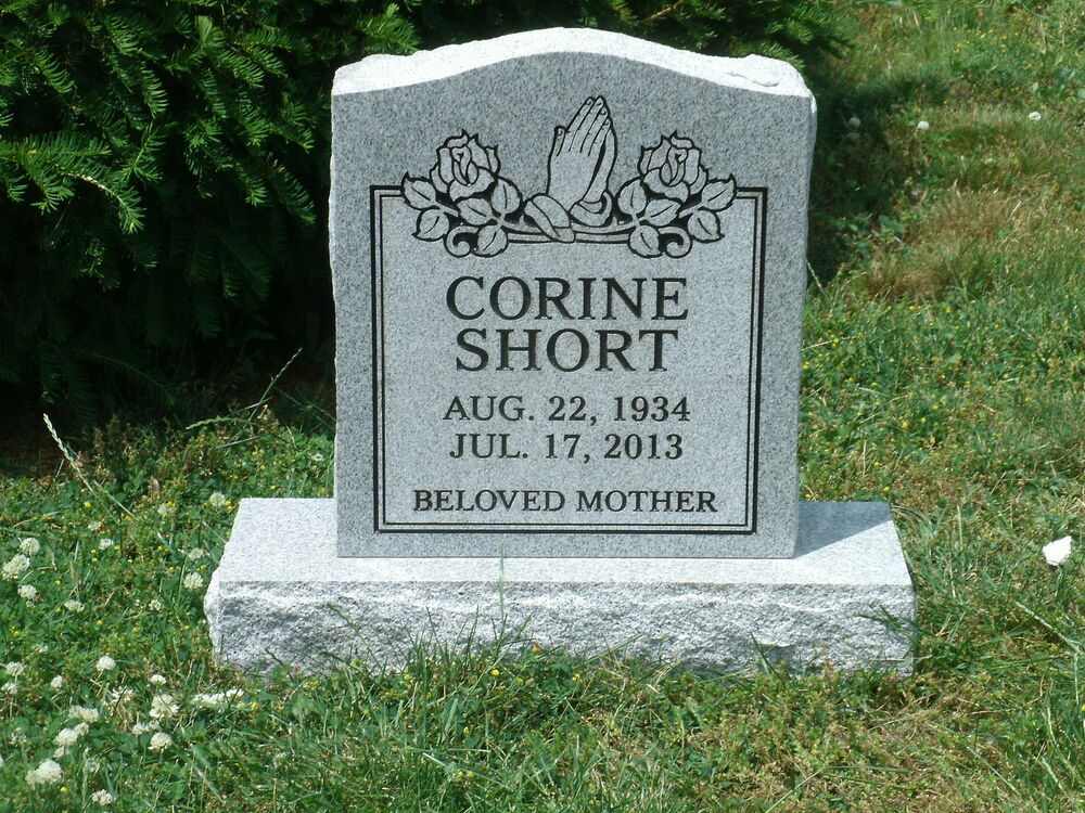 Granite Headstones Grave : Granite headstone grave marker gray multiple engraving