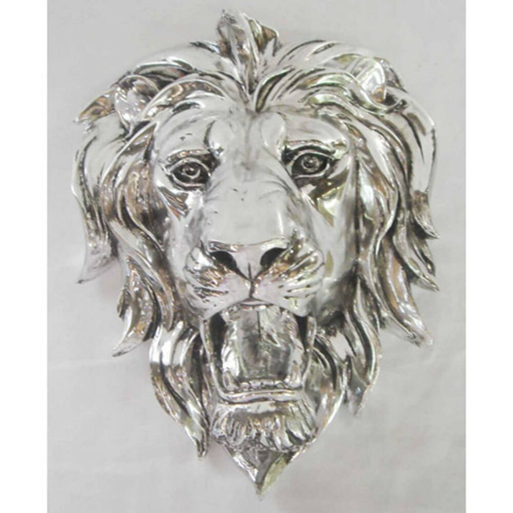 silver lion head wall art hanging 10 animal plaque electroplated resin new ebay. Black Bedroom Furniture Sets. Home Design Ideas