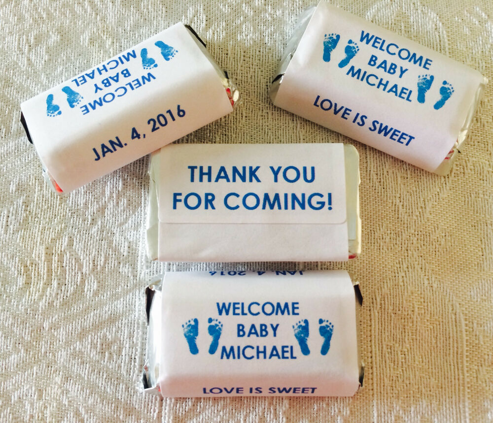 180 FOOTPRINT BABY SHOWER PERSONALIZED CANDY WRAPPERS