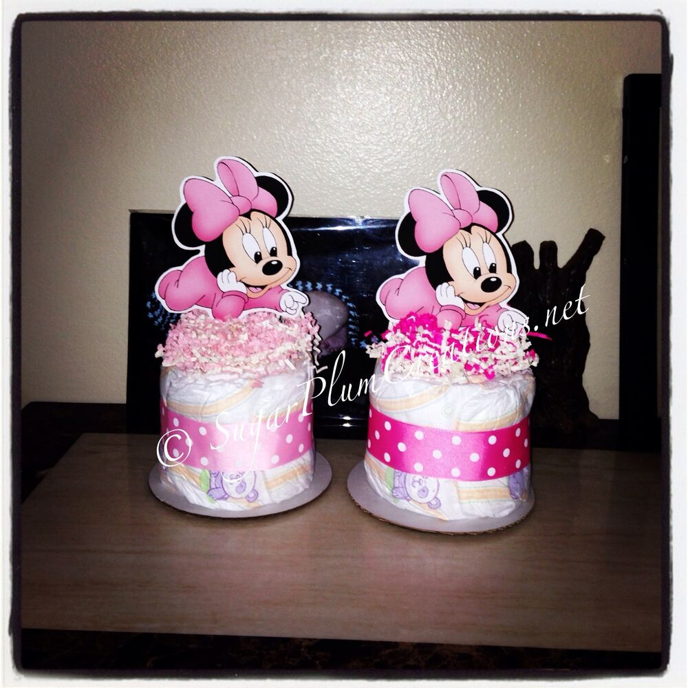 Baby minnie mouse diaper cake mini baby shower for Baby minnie mouse party decoration