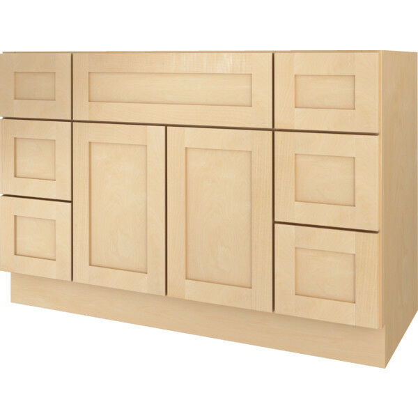 Bathroom vanity drawer base cabinet natural maple shaker 48 wide x 21 deep new ebay - Bathroom vanity cabinet base only ...