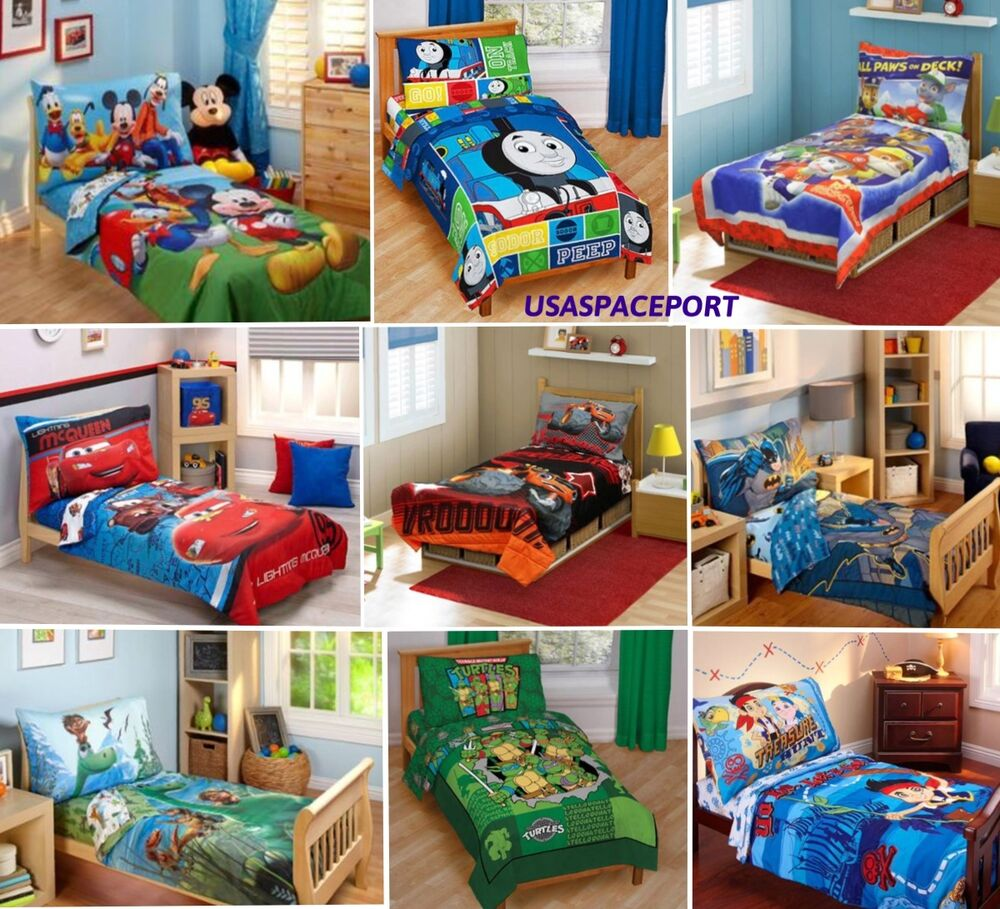 nursery bedroom sets 4pc boys toddler bedding set comforter sheets bed in a bag 12721