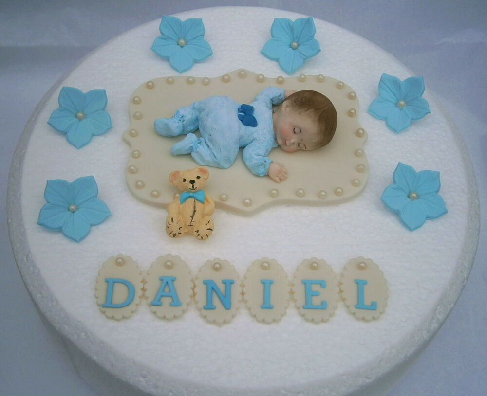 Edible personalised baby boy christening cake topper for Baby christening decoration