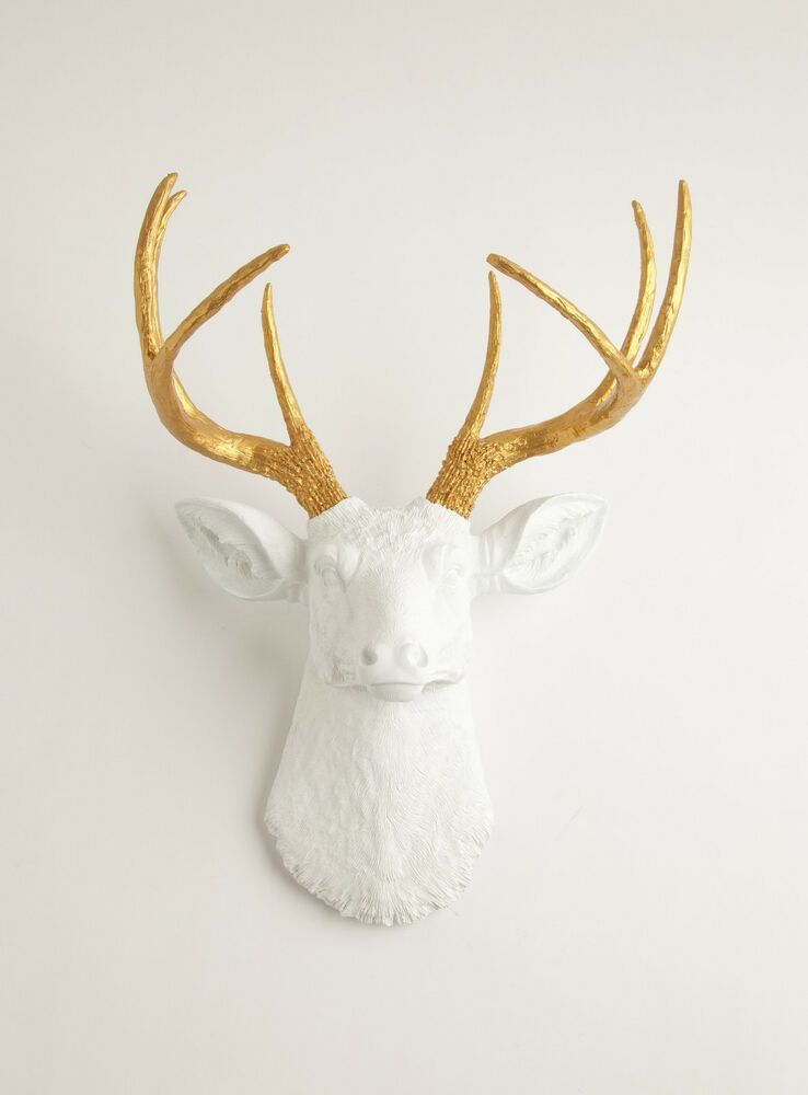 the alfred white faux deer head with gold antlers by white faux taxidermy ebay. Black Bedroom Furniture Sets. Home Design Ideas
