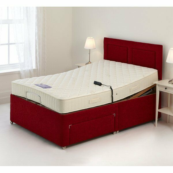 Double Adjustable Beds Electric : Ft double red electric adjustable bed pocket sprung or