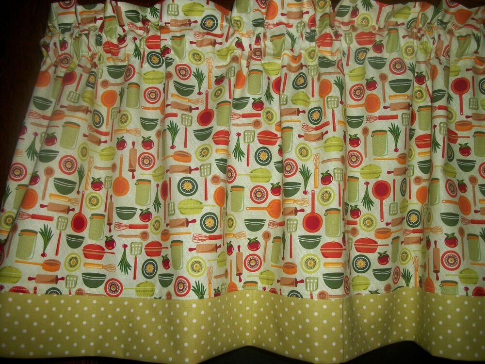 Olive Green Polka Dot Dishes Chef Retro Kitchen Fabric Curtain Topper ...