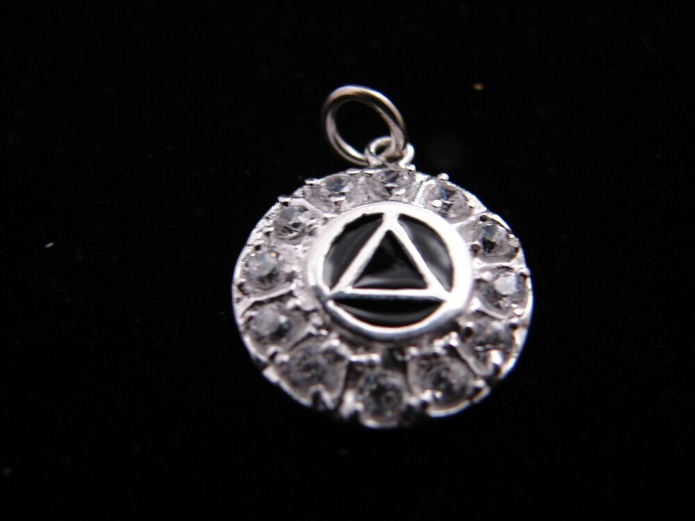 sterling silver alcoholics anonymous aa black symbol