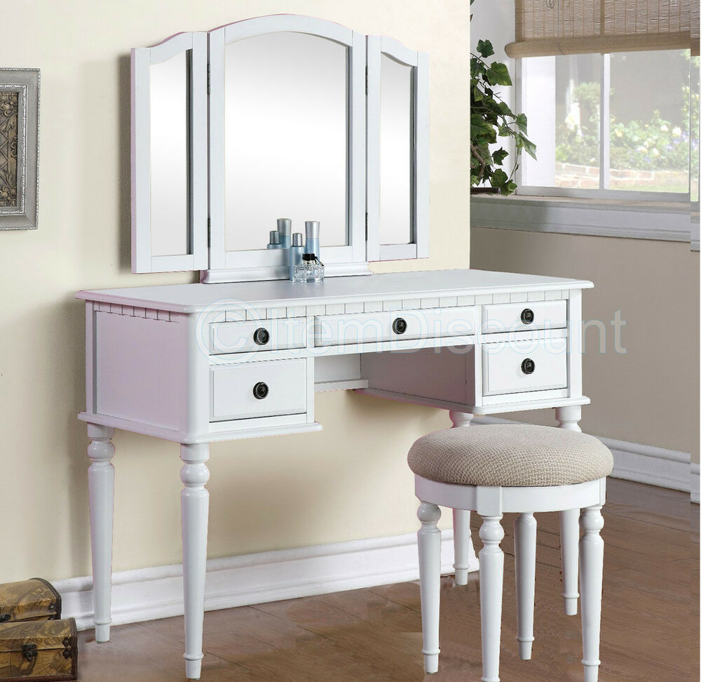 Tri fold white vanity makeup 3 mirror table set dresser for Vanity table set