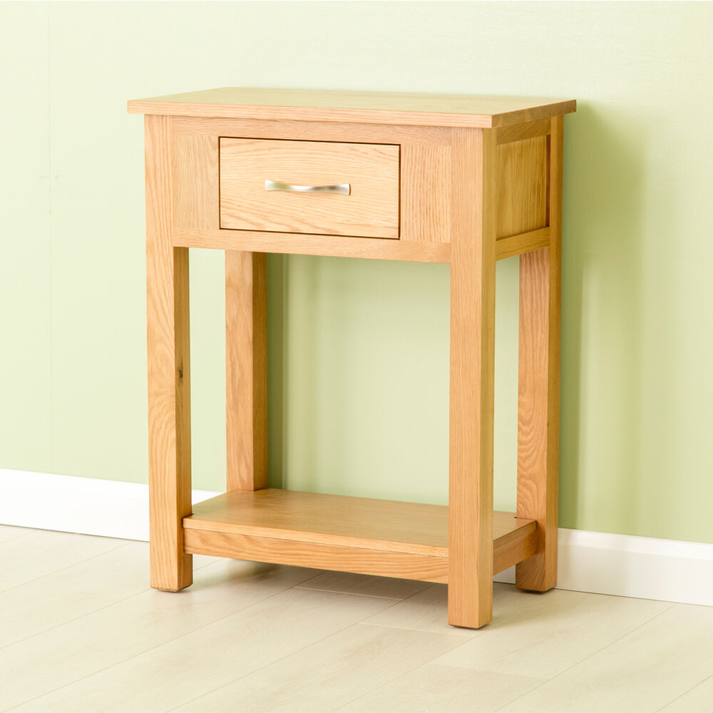 carne oak small console table oak hall table solid oak telephone table ebay. Black Bedroom Furniture Sets. Home Design Ideas