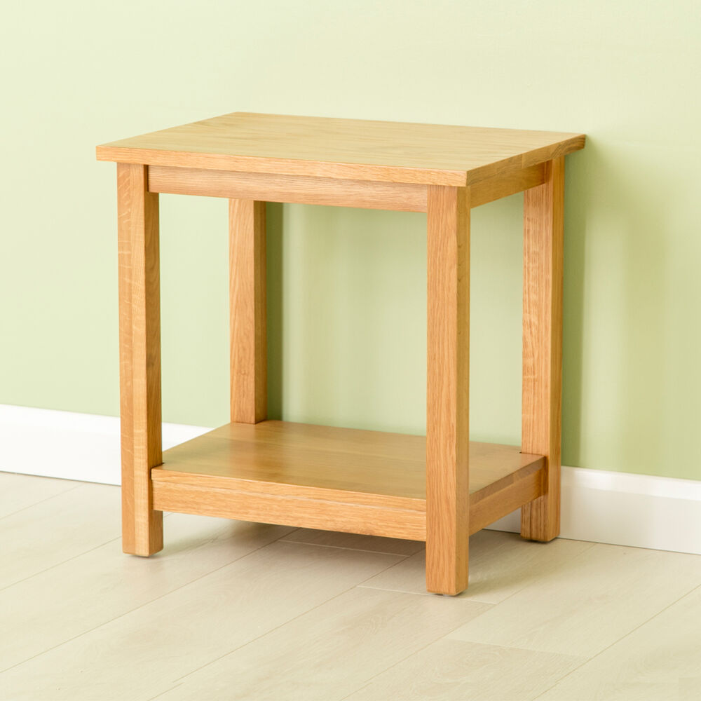 Carne Oak Lamp Table Solid Oak Side Table With Shelf