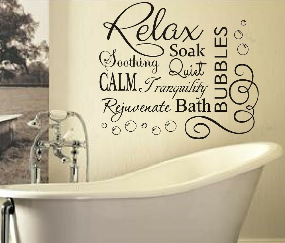 RELAX SOAK BUBBLES BATH AR QUOTE WALL ART STICKER DECAL