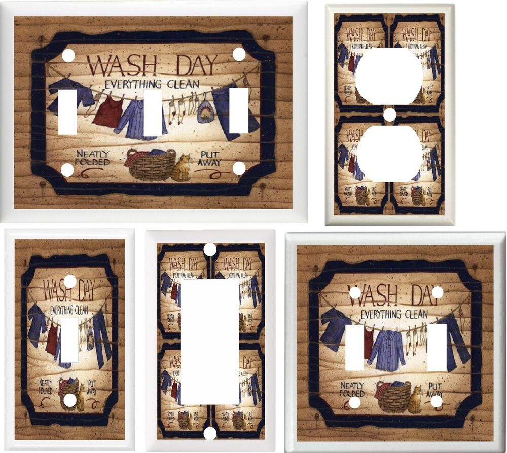 LAUNDRY ROOM CLOTHES LINE & BASKET HOME DECOR LIGHT SWITCH