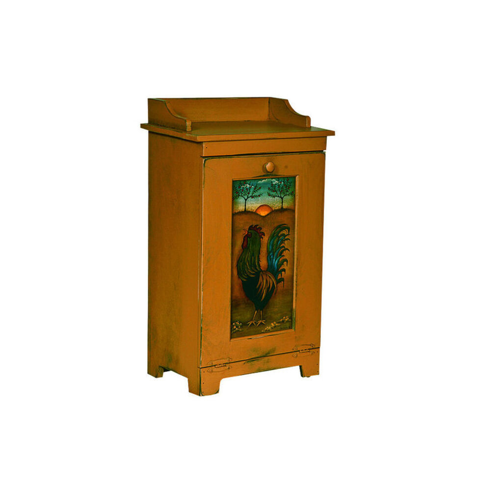 custom amish wood kitchen potato vegetable trash bin cabinet folk art rooster ebay. Black Bedroom Furniture Sets. Home Design Ideas