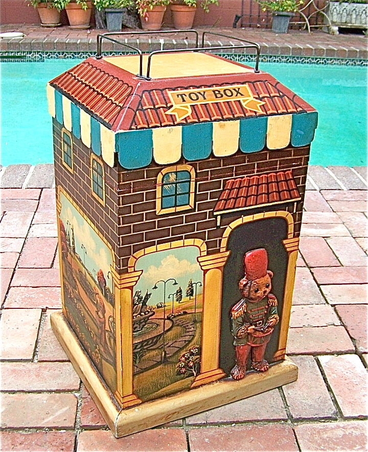 Vintage Wood Toy Box Chest Hand Painted Unique Design 1 of A Kind RARE ...