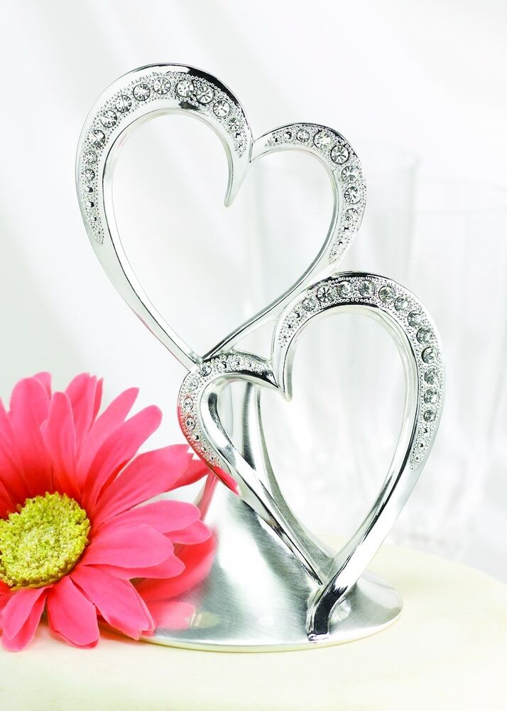 silver double rhinestone heart wedding cake top guest book