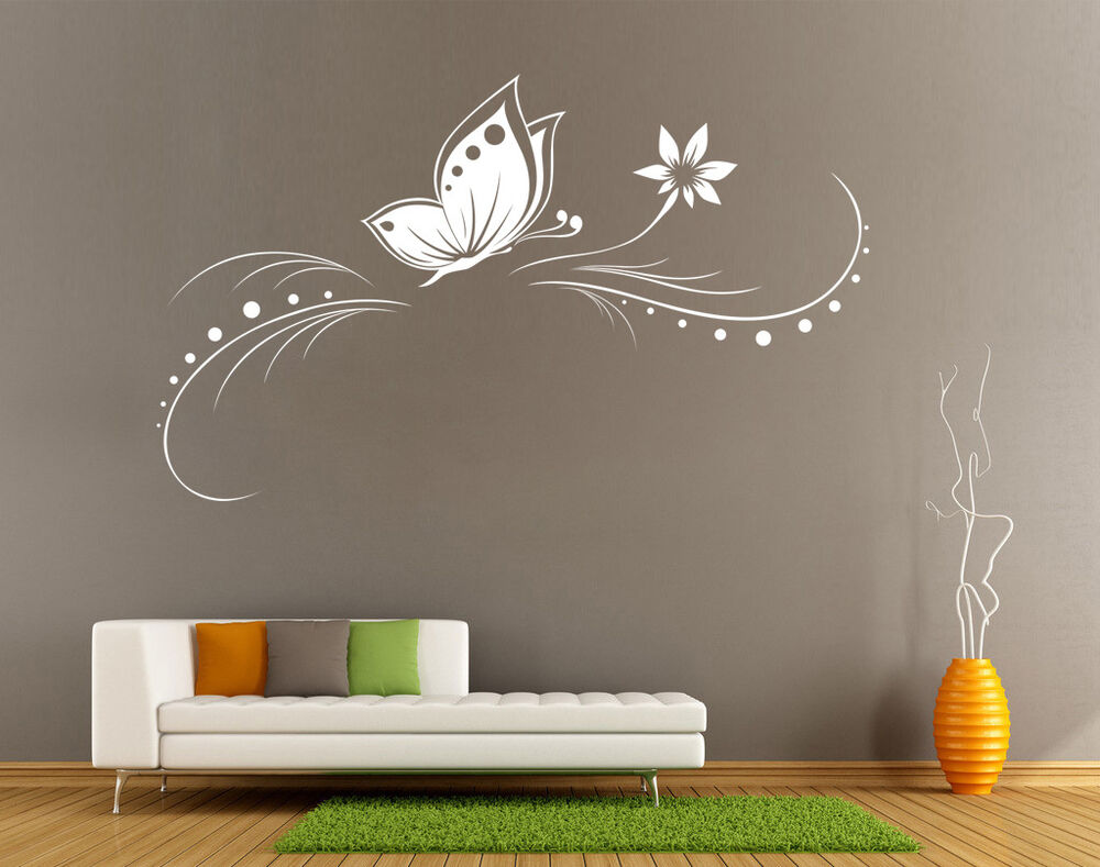 Butterfly Flower Vine Wall Art Sticker Living Room UK SH64 ...