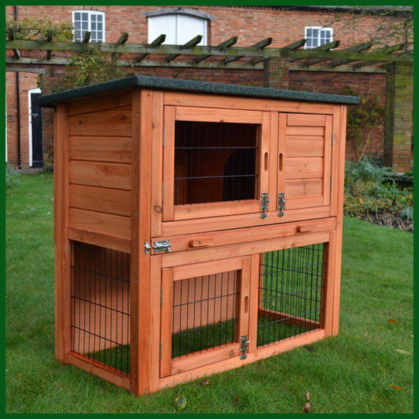 Rabbit hutch guinea pig hutches run runs large 2 tier for What is a rabbit hutch