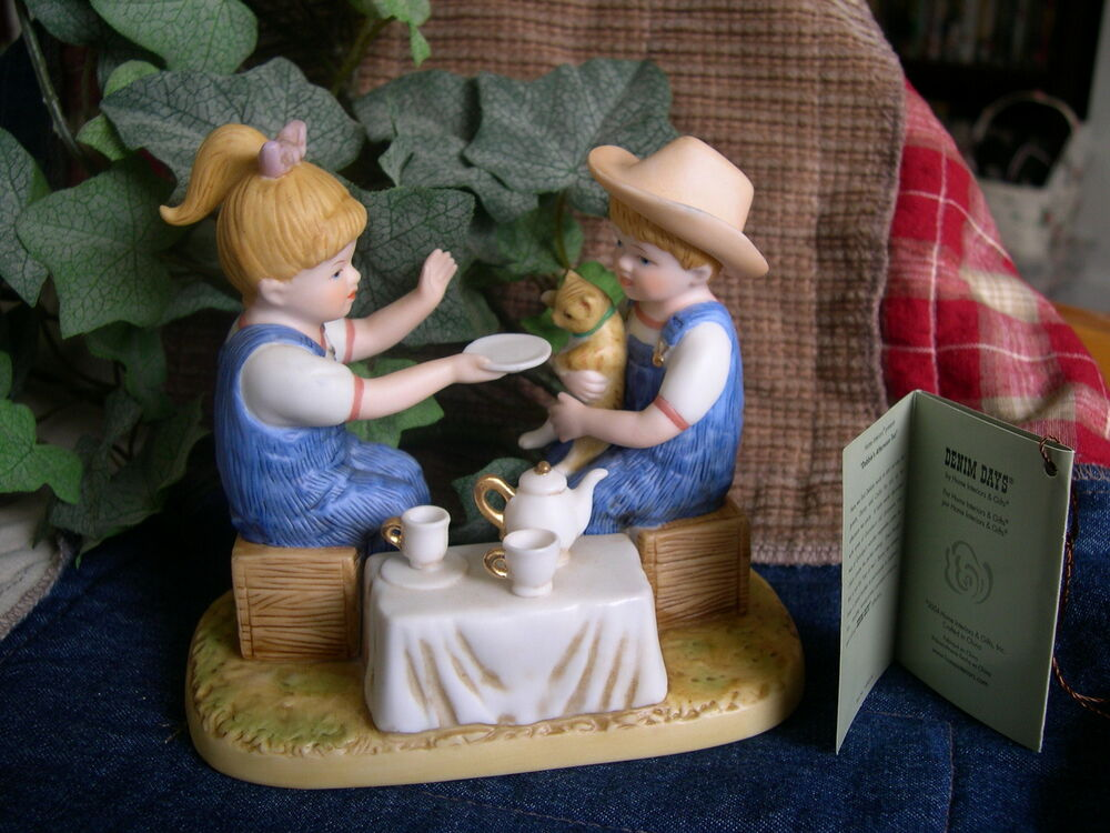 Home interiors homco denim days afternoon tea figurine w Home interiors figurines homco