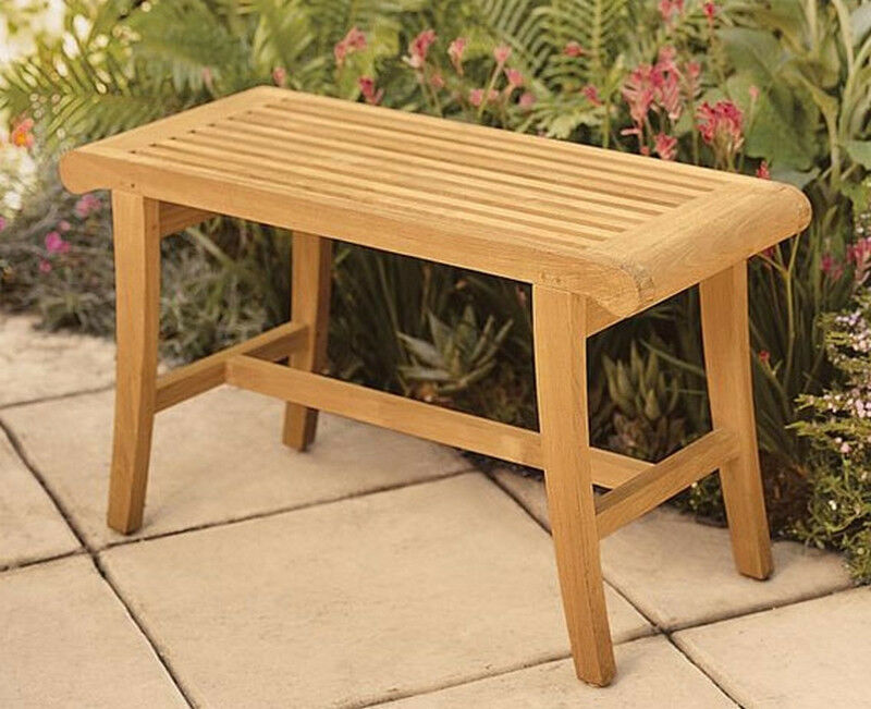 Teak occasional shower bench stool outdoor garden ebay