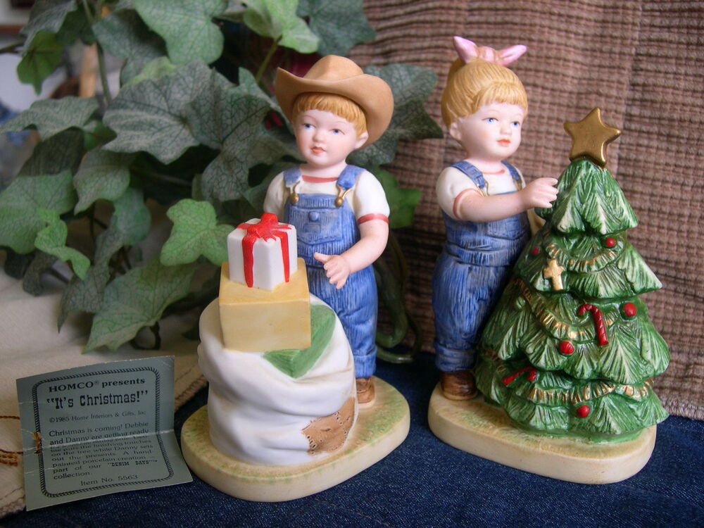 Home interiors homco denim days it 39 s christmas figurine Home interiors figurines homco