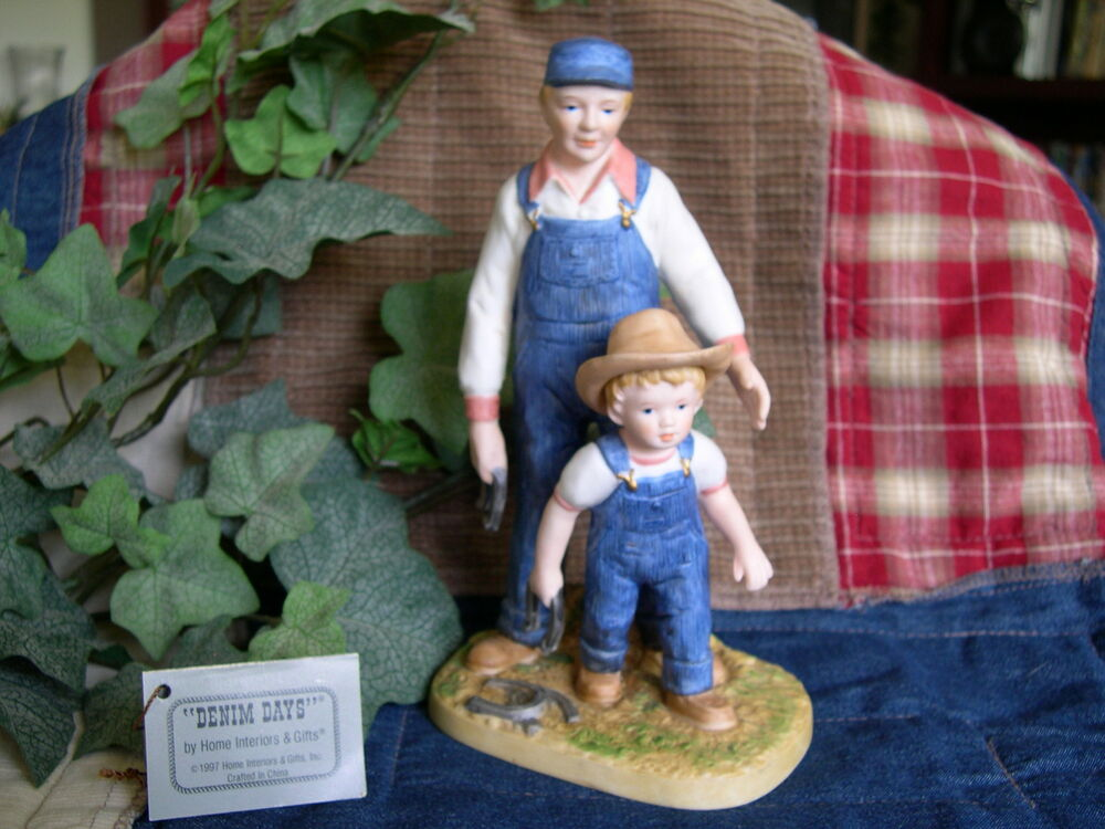 Home interiors homco denim days horseshoes figurine w Home interiors denim das