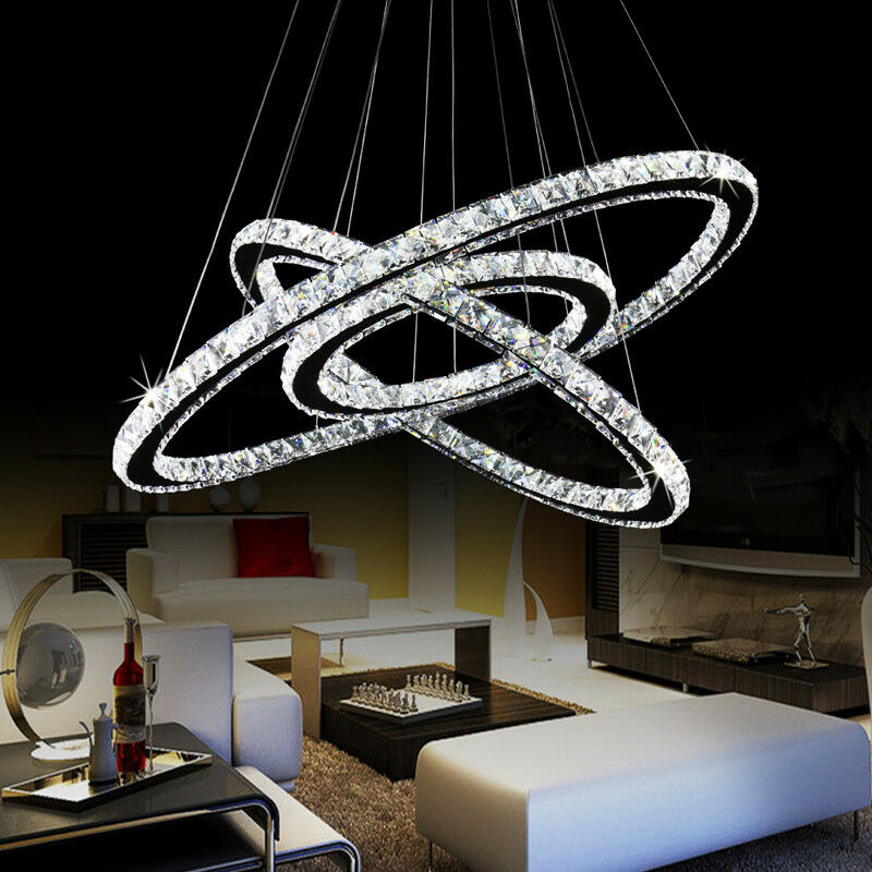 Modern Led Ring Chandelier Round Crystal Pendant Ceiling
