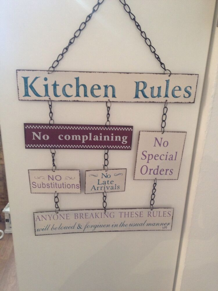 kitchen rules k che schild blechschild metall deko retro shabby vintage neu ebay. Black Bedroom Furniture Sets. Home Design Ideas