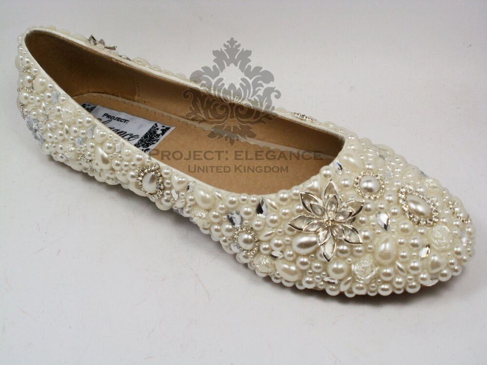 Womens Ladies Pearl Crystal Ballerina Flat Shoes Sizes 3 8 Ivory Wedding Bridal