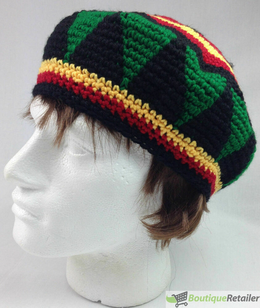 Knitted Scarf Pattern For Beginners : RASTA HAT Reggae BEANIE Cap Jamaican Hippie Tam Knitted Stretchy Knitted Bere...