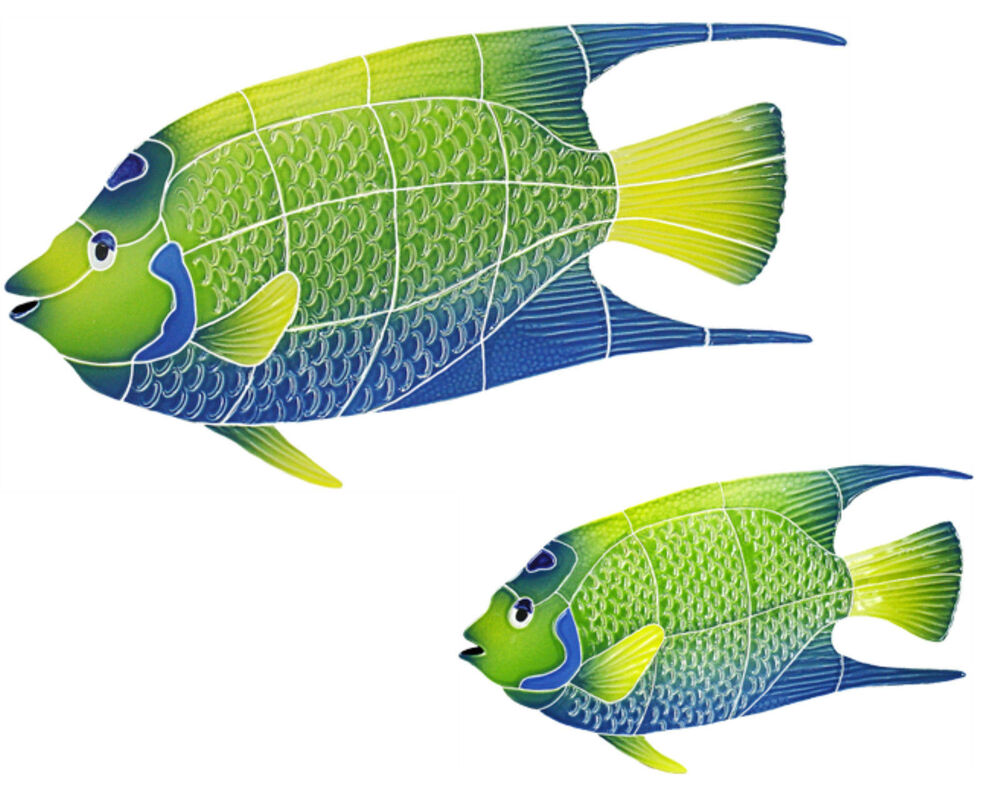 Mosaic tilequeen angel fish swimming pool wall patio walk for Pool of fish