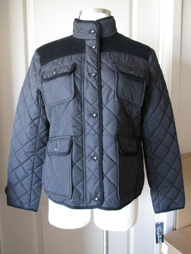 Womens Collezione Black Quilted Barn Jacket Coat Nwt 125