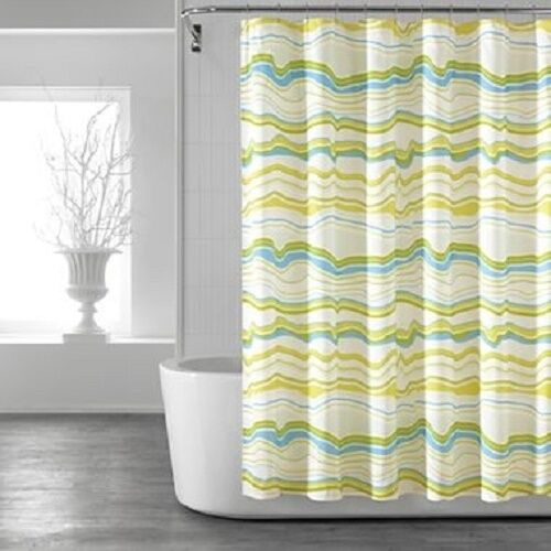 Pantone Universe Colorwave Macaw Green Blue Fabric Shower Curtain Striped New Ebay