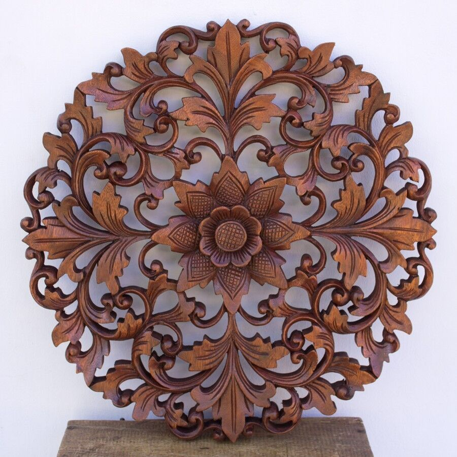 15in Bali Lotus Flower Round Wooden Wall Panel Headboard Closet Door Decoration Ebay