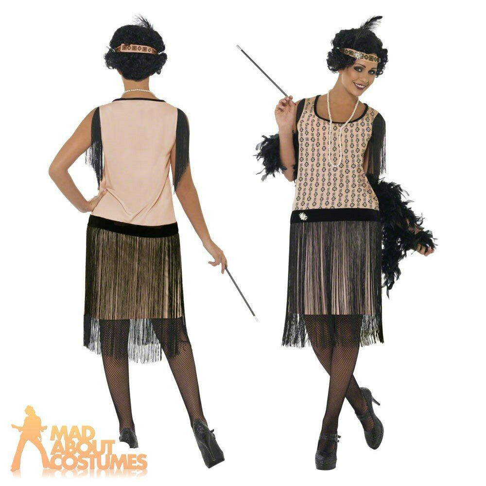 Adult 1920 39 S Coco Flapper Great Gatsby Ladies Fancy Dress Costume Size 8 18 Ebay