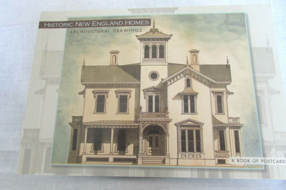 Historic New England Homes Architectural Drawings Postcard