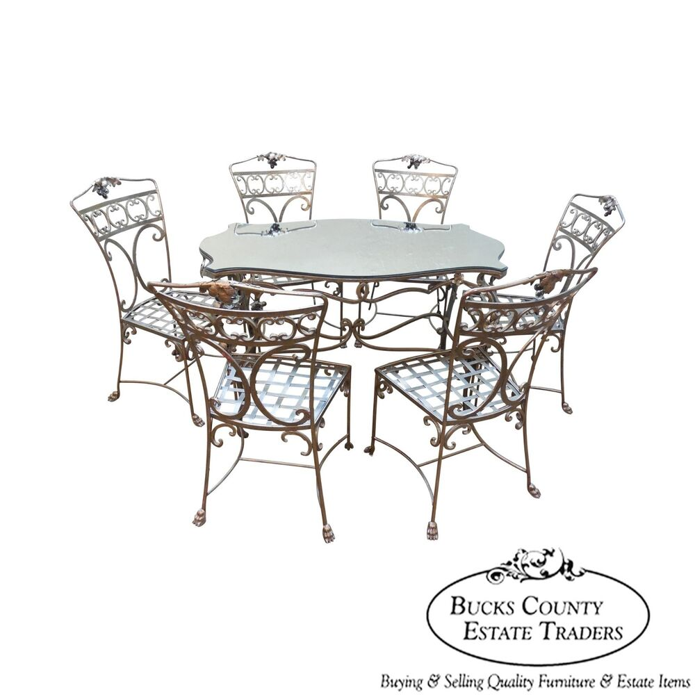 Regency Wrought Iron 7 Piece Table Chair Dining Patio Set EBay