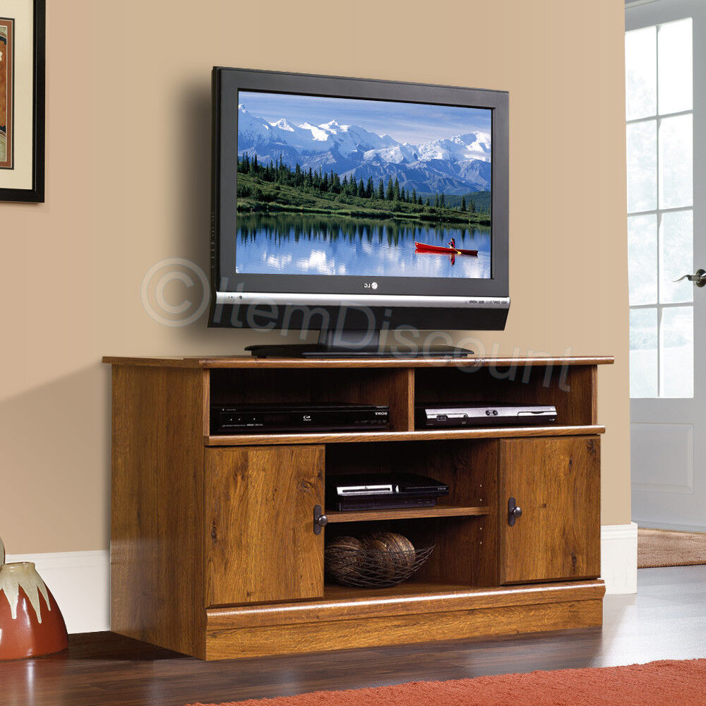 44 wood oak finish lcd led tv stand media console doors Wood entertainment center