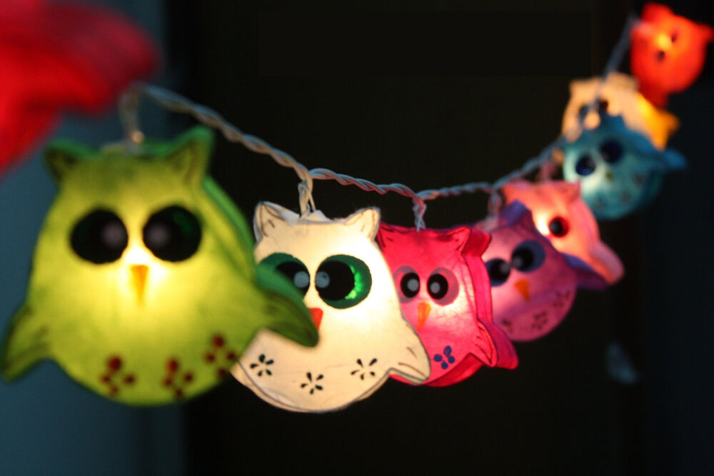 owl bird fancy lantern string party fairy kid bedroom home