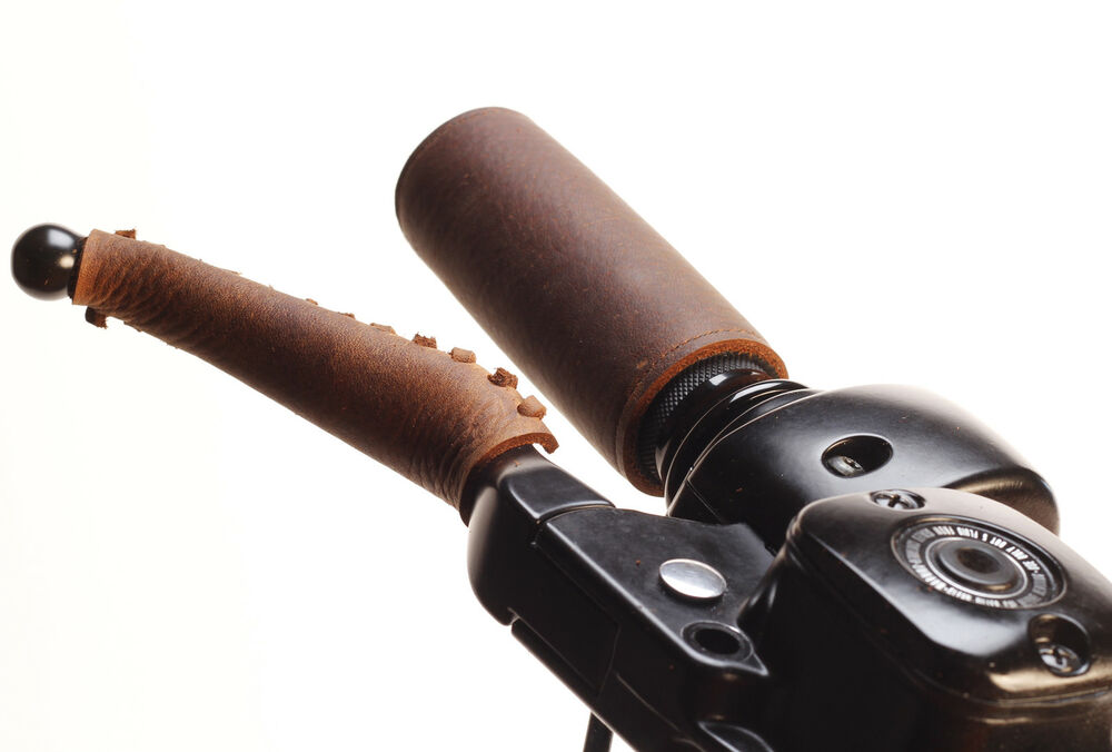 New Heavy Duty Brown Leather Motorcycle Grip And Lever