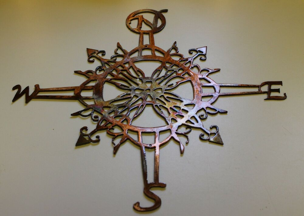 Ornamental nautical rose 20 wall art metal decor copper for Bronze wall art