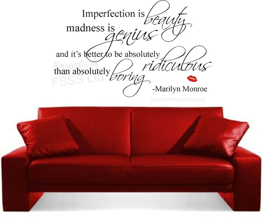 MARILYN MONROE IMPERFECTION IS BEAUTY QUOTE WALL ART ...