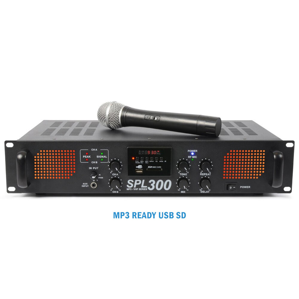 skytec spl 300vhf power amplifier 2 x 150w wireless microphone disco amp 5055839147308 ebay. Black Bedroom Furniture Sets. Home Design Ideas