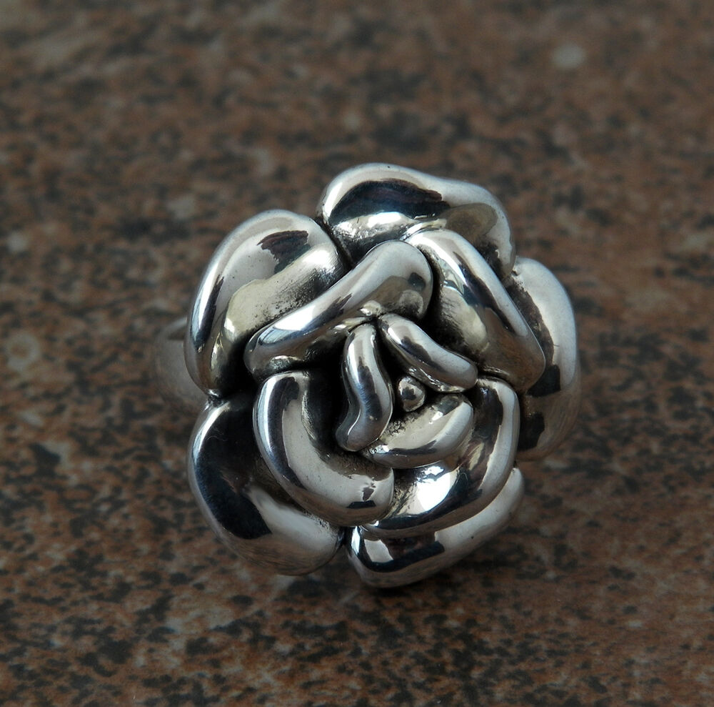 sterling silver rose flower ring electroform superb. Black Bedroom Furniture Sets. Home Design Ideas