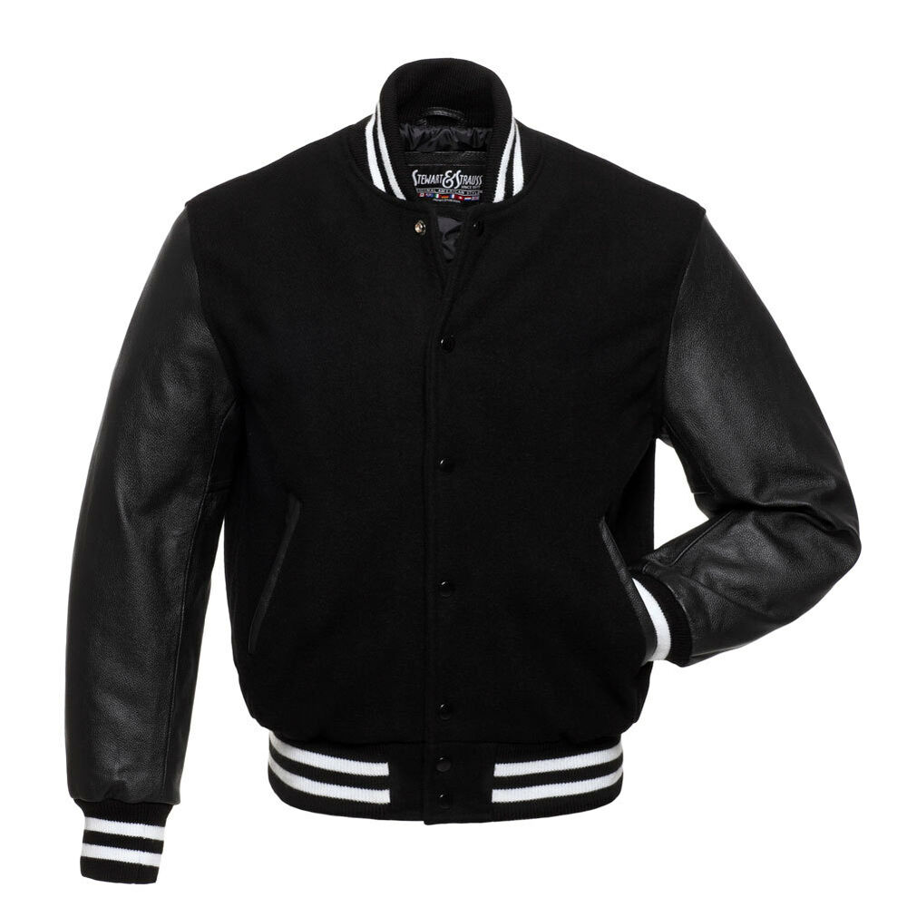 Black leather baseball jacket