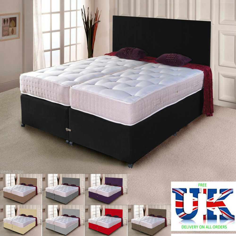 Zip And Link Bed Divan Bed 1500 Pocket Sprung Mattresses Storage Available Ebay