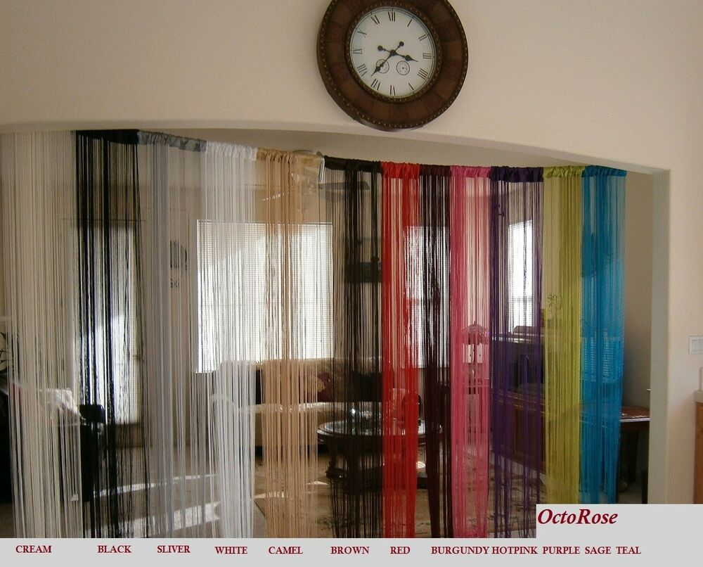 40x110 string curtain with faux pearls for window wall. Black Bedroom Furniture Sets. Home Design Ideas