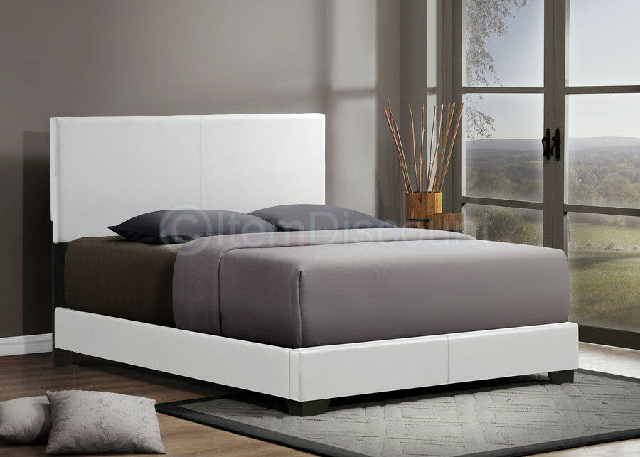 queen white leatherette upholstered panel platform bed frame comtemporary modern ebay. Black Bedroom Furniture Sets. Home Design Ideas