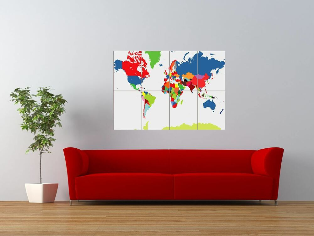 pp world map atlas colour globe giant art print panel poster nor0316 ebay. Black Bedroom Furniture Sets. Home Design Ideas