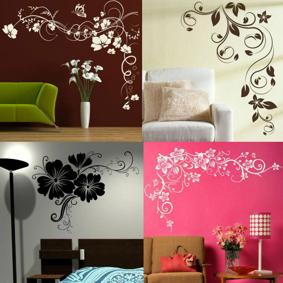 Corner flower wall stickers interior home floral for Home decorations on ebay